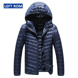 boutique men coat Canada - 2019 New High-end Warm Fashion for Men Feather Hooded Down Jacket Pure Color Boutique Mens Feather Down Coat Thin Light Jackets Y200107