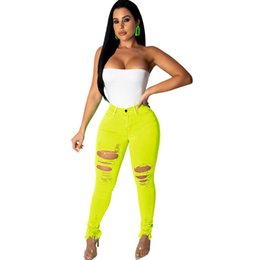 high waisted slimming pencil jeans UK - Women Neon Color High Waisted Ripped Jeans Femme Skinny Pencil Pants Sexy Hole Streetwear Denim Jeans Slim Stretch Jean Trousers Y19071701