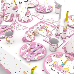 Decorate plates online shopping - Pink Paper Unicorn Party Supplies Birthday Get Together Atmosphere Decorate Field Arrangement Suit Girl Lovely Plate Hat Patch kkb1