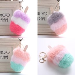 Wholesale Women Bag Pendant Keychain Artificial Fur Ball Ice Cream Key Rings Styles Popsicle Key Holder For Friends Gifts H586Q