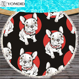 Towels For Dogs NZ - Bulldog Round Beach Towel dog printed Beach Towels Serviette De Plage Large Towel Cartoon Microfiber 150cm Bath Toalla for Kids