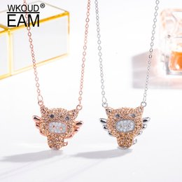 Pigs jewelry online shopping - WKOUD EAM Women Charm Jewelry New Pendant Necklace Female Accessories Party Gift Link Chain Flying Pig Silver Choker ZJ138