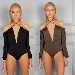 Off Shoulder Strappy Wrap BodySuit Body SuitTops Blouse 2019 Long Sleeve  Halter Sexy Club BackLess Black Overall Romper Jumper YD2586 abb75d258