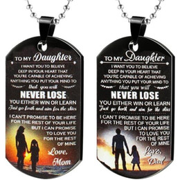 $enCountryForm.capitalKeyWord Australia - To My Daughter Never Lose Inspirational Necklace Keychain I Want You To Believe Dog Tag Colorful Stainless Steel Pendant Gift From Dad Mom