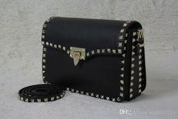 $enCountryForm.capitalKeyWord Australia - Factory Wholesale Genuine Leather Women Bag Handbag Shoulder Bag Golden Rivets Valentine S Day Bags Long Shoulder Strap Black Color