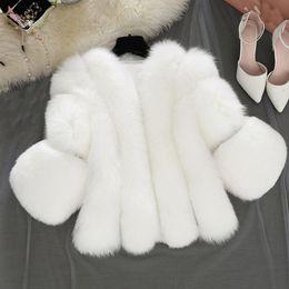$enCountryForm.capitalKeyWord Australia - S-4xl Fox Fur Coats Women Winter Warm White Pink Faux Fur Coat Elegant Thick Warm Outerwear Fake Jacket Chaquetas Mujer-40