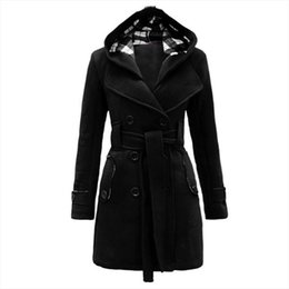 US Donna Lady Winter Hoodie Long Peacoat Coat Trench Outwear Jacket Dress w / Belt