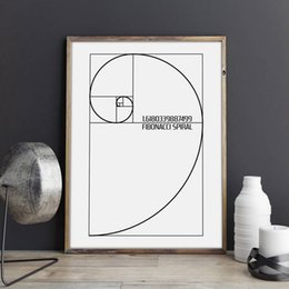 Modular hoMes online shopping - Home Decoration Prints Nordic Fibonacci Spiral Patent Canvas Painting Golden Ratio Poster Wall Art Modular Creative Idea Picture