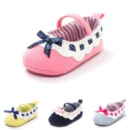 Cute Summer Cotton Fabric Australia - Baby Girls Cotton Fabric Shoes Cute Bowknot Decoration Soft Sole Anti-Slip Baby Priincess First Walkers Shoes