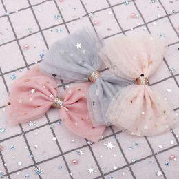 Kawaii glitter online shopping - 2019 New arrival Kawaii Fahison quot Bling Stars Lace Hair Bow Hair Clips For Girls Glitter Knot Accessories for girls women