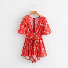 Lady Sweet Floral print Sexy V neck Red Beach Platsuits Summer Short sleeve Bow Lace-up Women Short Jumpsuits vestidos#N756