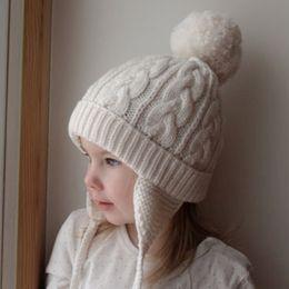 $enCountryForm.capitalKeyWord NZ - Cute Children Kids Girl & Boy Hat Knit Crochet Braided Winter Warm Hat Beanie Cap Pom Pom Ball Solid Caps