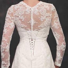 Jackets Custom Australia - 2019 New Long Sleeves Wedding Bolero Lace Appliques Jewel Neck Custom Made Sheer Wedding Wraps Shrugs Buttons Back Bridal Jacket
