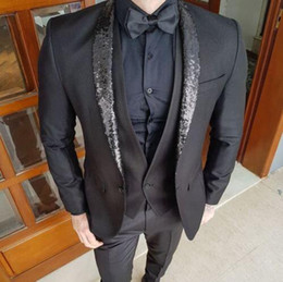 $enCountryForm.capitalKeyWord Australia - The Latest Design Custom Men's Black Suit Shiny Beads Slim Fit Groom Wedding Dress Tuxedo 3 piece (Jacket+Pants+Tie) ZQ