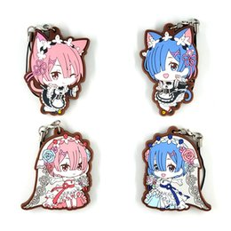 Discount anime mobile phone - Re Life in a different world from zero Japanese anime figure rubber Silicone mobile phone charms key chain strap