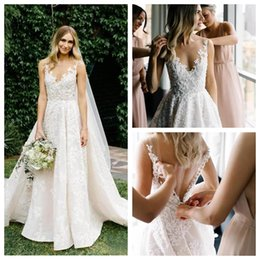 marvelous wedding dresses UK - Marvelous V-Neck Ivory A-Line Vows Wedding Dresses Lace Appliques with Sweep Train Custom Wedding Dress Sheer Back Lace Wedding Gowns
