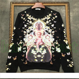 BaBy cotton jumper online shopping - 2018 Luxury Designer Europe mens Virgin Mother baby sweatshirt Fashion Flowers stars print Hoodies Pullover Hooded Women Hoodies Jumpers