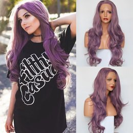$enCountryForm.capitalKeyWord NZ - Sweetheart Synthetic Lace Front Wigs Long Wavy Purple Cosplay Wigs For Women High Temperature Real Pictures Glueless Wigs with Baby Hair