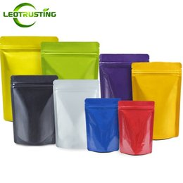 Sugar Bag Wholesale Australia - Leotrusting 50pcs lot 9 Colors Stand up Aluminum Foil Ziplock Bag Thick Gift Zipper Pouch Doypack Coffee Biscuits Sugar Nuts Packaging Bag