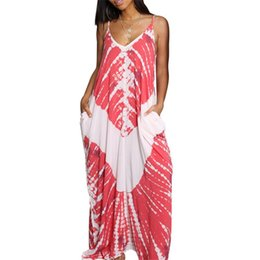 Bright Maxi Dresses Dgt Summer Long Sundress Women BOHO Printed Maxi Beach Dress Party Ladies  Elegant V-neck Sleeveless Sling Maxi Dresses NB-1262