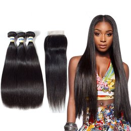 $enCountryForm.capitalKeyWord Australia - Lucky Queen Peruvian Straight Hair 3Bundles With Closure Double Weft Remy Human Hair Bundles With Lace Closure cheap bundles of hair