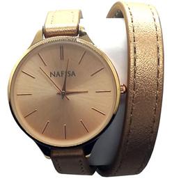 $enCountryForm.capitalKeyWord Australia - Nafisa Women's New Fashion Gold Color Round Case Champagne Thin Warp Around Leather Bracelet Strap Wrist Watch NA-0138