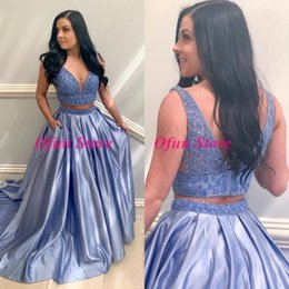 $enCountryForm.capitalKeyWord Australia - Charming Two Piece V Neck A Line Prom Dresses Beading Backless Sweep Train Satin Formal Party Gowns