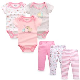 Clothes Pieces Australia - 6 Pieces lot Baby Girl Clothes Set Baby Boy Girl Rompers Pants Cotton Roupa Infantil Newborn Baby Clothing Sets J190520