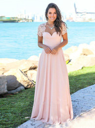 white chiffon tops for wedding dresses NZ - 2020 Elegant Bridesmaid Dresses Pink Open Back Short Sleeve Lace Top A Line Chiffon Cheap Maid of Honor Dresses for Beach Wedding Guests