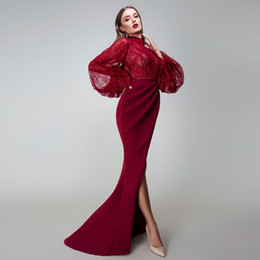 $enCountryForm.capitalKeyWord Australia - High Neck Sexy Lace Poet Long Sleeves Mermaid Evening Dress Formal Dress Sexy Middle East Dubai Satin Prom Maxi Gown Vestidos De Soiree