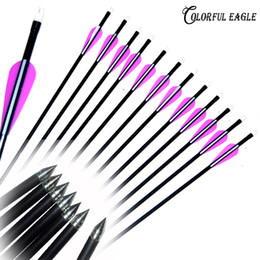 "steel shot for NZ - 12PCS Lots 31.5"" 30"" 29"" 28""Archery Hunter Nocks Fletched Steel Fiberglass Arrows for Compound Recurve Bow arrow shooting Target Practice"