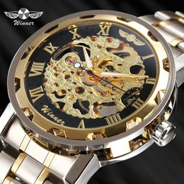$enCountryForm.capitalKeyWord Australia - ristwatch mechanism WINNER Golden Watches Men Skeleton Mechanical Watch Stainless Steel Strap Top Brand Luxury T-WINNER Classic Wristwatc...