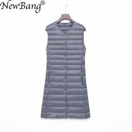 $enCountryForm.capitalKeyWord NZ - NewBang Brand Long Women's Vest Ultra Light Down Vest Women Waitcoat Female Down Coat Slim Sleeveless Without Collar Jacket