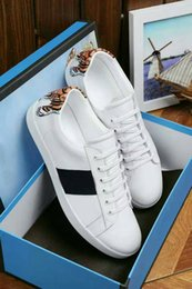 tiger sneakers Australia - New Fashion Mens Designer Shoes 2019 Womens White Black Tiger Print Ace Sneakers Low Cut Casual Flat Outdoor Trainers Man Woman