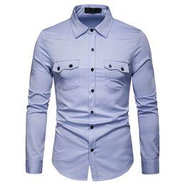 $enCountryForm.capitalKeyWord Australia - Europe Size Fashion Men Shirt Turn Down Collar Casual Business Long Sleeve Mens Shirts Solid Masculina Camisas Dropshipping