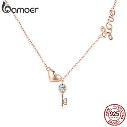 Love Key Lock Pendant Australia - Romantic 925 Sterling Silver Key Lock to Heart Pendant Necklaces Women Rose Gold Color Jewelry Anniversary birthday Gift