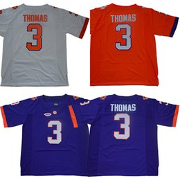 Football Free Australia - Men college clemson tigers jerseys white orange purple #3 Xavier Thomas adult size football jersey stitched free shipping
