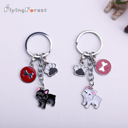 $enCountryForm.capitalKeyWord Australia - New Diy French Bulldog Key Chain Dogs Key Ring Pom Jewelry Women Bag Charm Keychain Bear Dog Feet Pendant Bones Round Tags GiftSH190724