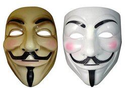 film guy fawkes mask Australia - New Vendetta mask anonymous mask of Guy Fawkes Halloween fancy dress costume white yellow 2 colors