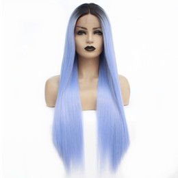 Long Light bLue cospLay wig online shopping - cosplay Blue Ombre Wig for Women Synthetic Lace Front Wig with Dark Roots Long Straight Light Blue Wig Heat Resistant Fiber