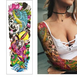 Discount neck tattoos for women - Waterproof Temporary Tattoo Sticker Full Arm Sleeve Large Skull Tatoo Stickers Fake Fattoos for Men Women