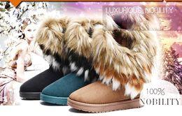 Snow Boots Size 42 Australia - Fashion Fox Fur Warm Autumn Winter Wedges Snow Women Boots Shoes GenuineI Mitation Lady Short Boots Casual Long Snow Shoes size 36-42