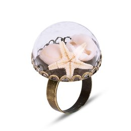 Unique Gifts For Ladies Australia - 4 Styles Vintage Glass Rings Jewelry Shell Starfish Adjustable Rings For Women Ladies Party Unique Jewelry Handmade Artwork Gifts wholesale