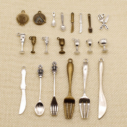 Knife charms online shopping - 60 Pieces Metal Charms Or Bracelet Charms Cutlery Spoon Fork Knife Cup HJ097