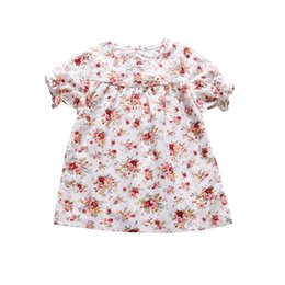$enCountryForm.capitalKeyWord UK - Elegant Infant Baby Girl Floral Dress Short Sleeve Flower Print Party Princess Dress Vintage Ruffle Toddler Kids Clothes Outfit