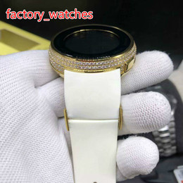 Big Display Cases Australia - Diamonds gold case men watch big size 45mm digital display Limit edition full works white rubber strap high quality watches free shipping