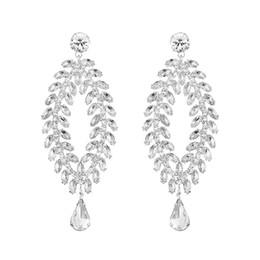 e29be5c8f7c4 Teardrop Big Crystal Gold Color Earrings for Women Brides Drop Dangle Long  Earrings for Wedding Accessories Gift JCC068