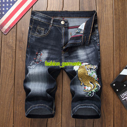 7b07a06968 New fashion Hole Denim Shorts Men's Summer Tiger Embroidery Five Pants Thin  Section Stretch Slim Jeans Mens Designer Denim Shorts