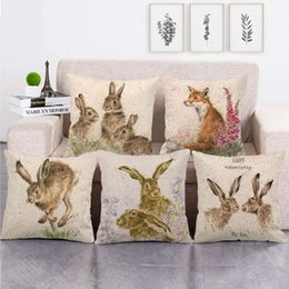 wholesale fox cushion covers UK - Baby Animal Party Fox Rabbit Cushion Covers Hand Painting Animals Throw Pillow Cover Linen Pillow Case Easter Decoration RRA2685