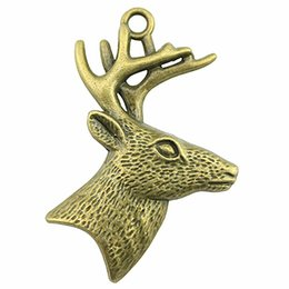 $enCountryForm.capitalKeyWord Australia - 50pcs Deer Pendant Charms For Jewelry Making Charm Deer Head Antique Bronze Antique Silver Deer Head With Antlers Charms 43x60mm